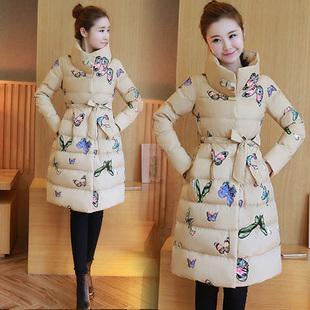 冬装少女棉衣女中长款可爱印花蝴蝶修身棉服加厚棉袄学生外套冬季