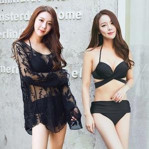 韩国性感比基尼三件套大小胸聚拢钢托显胸大遮肚高腰温泉游泳衣女