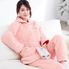 芬腾冬季中老年加厚三层珊瑚绒都市夹棉袄睡衣女妈妈丽人家居服