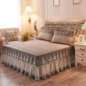 夹棉蕾丝床裙爱心纯色欧式花边床罩单件三件套1.5 申牟家纺 1.8米