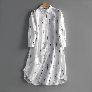 19夏季新款 通勤简约风~可爱卡通印花七分袖棉麻衬衫连衣裙中长裙