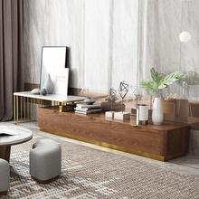 马氏皇庭简约后现代轻奢不锈钢大理石电视柜伸缩地柜北欧客厅家具