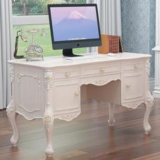 欧式书桌实木小户型 电脑台式桌公主田园白色办公桌椅家用写字台