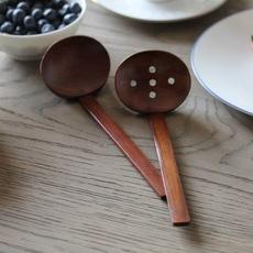 长柄木勺天然实木大汤勺龟甲火锅勺日式汤勺漏勺木器味千拉面勺