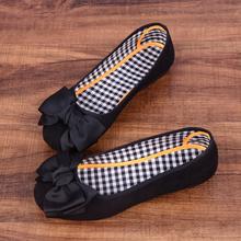 平底黑色软底工作鞋 蝴蝶结圆头浅口单鞋 女豆豆鞋 老北京布鞋 时尚