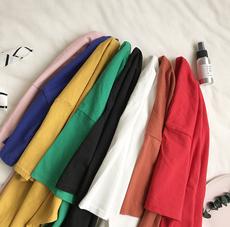 夏季韩版短款女学生bf原宿风宽松纯色五分袖纯棉复古文艺短袖T恤