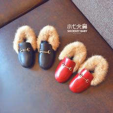 女童鞋加绒公主鞋 宝宝豆豆鞋秋冬季英伦风皮鞋子单鞋 儿童毛毛鞋