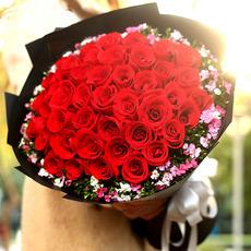 情人节红玫瑰花束全国鲜花同城速递广州花店直送爱人老婆女朋友