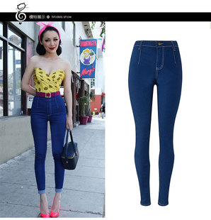 Jeans for women Jeans High Elastic plus size skinny pants裤