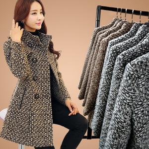 毛呢外套中长款千鸟格妮子2016韩版秋冬季加厚格子修身呢子大衣女羊绒大衣