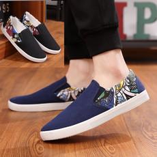 秋季男士一脚蹬帆布鞋低帮学生潮流运动布鞋防臭透气懒人休闲鞋子