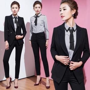 艾尚主播2017新款职业气质OL修身正装时尚西装职业女裤套装两件套职业装