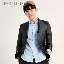 太平鸟男装西装 秋季修身休闲小西服韩版修身黑色外套 B2BB52101