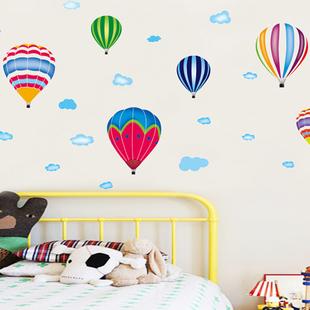 幼儿园墙壁面贴纸儿童房间宝宝卧室卡通装饰墙纸贴画热气球墙贴纸