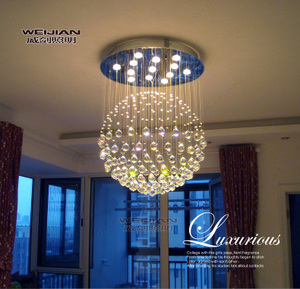 威剑照明豪华圆球吊线吸顶客厅餐厅饭厅卧室厨房水晶灯饰LED灯具吊线灯