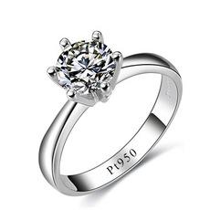 热卖经典 钻戒六爪钻石女戒 Pt950铂金戒指求婚钻戒白金 镶钻婚