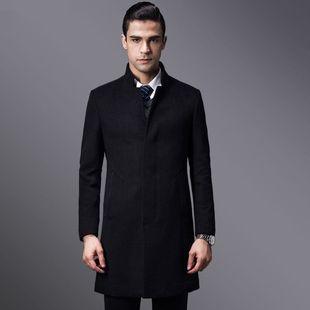 商务版冬季双排扣中长款羊毛呢大衣男士呢子外套休闲修身韩版风衣