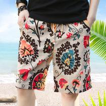 五分裤 男士 衩韩版 夏季沙滩裤 子修身 中裤 休闲裤 花短裤 夏天大裤 潮薄