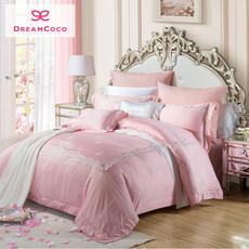 梦洁家纺 结婚床上用品全棉提绣花四件套粉红色床单被套1.8 2.0米