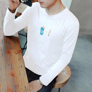 男士秋季长袖t恤青少年打底衫韩版纯色T桖学生体恤圆领潮流上衣服