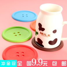 硅胶糖果色纽扣杯垫单面圆形隔热垫餐垫 特价