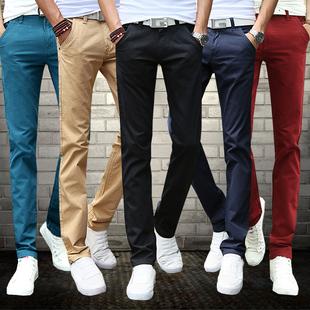 韩版男士休闲裤男装修身直筒长裤子冬季宽松青年布裤加绒加厚款潮