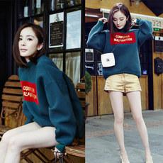 韩版2016秋季女新款纯棉长袖卫衣印花圆领宽松加绒套头学生外套潮