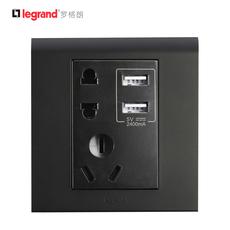 TCL开关插座86型K5黑色系列插座面板带USB五孔10A插座