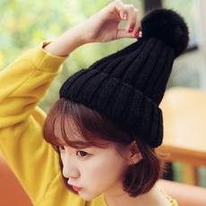 毛线帽子女冬天学生青年潮韩国秋季帽子女秋天韩版休闲百搭针织帽