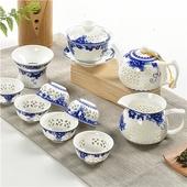 青花牡丹镂空水晶玲珑茶具陶瓷盖碗茶壶整套功夫茶具套装 红茶绿茶