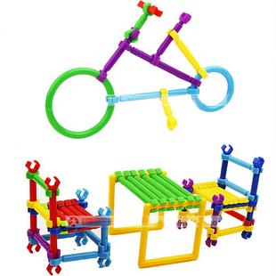 幼儿园diy手工智力拼插怪兽儿童玩具建构益智积木拼装区角游戏塑料一套玩具图片