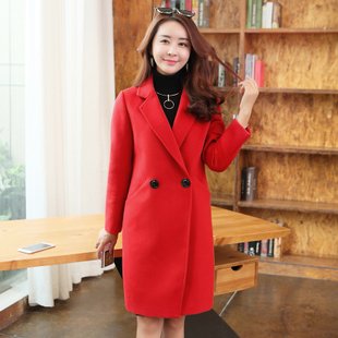 大衣2016新款毛呢外套女秋冬长袖呢大衣韩版女装中长款呢子大衣
