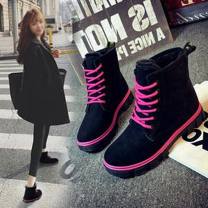 2016冬季韩版马丁靴女保暖加绒鞋棉鞋平底短靴雪地棉鞋休闲女鞋潮中筒靴