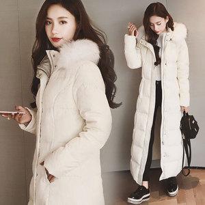 冬季长款过膝羽绒服女超长韩版修身加厚大毛领中长款羽绒衣外套潮长款羽绒服