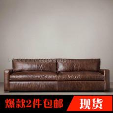 特价美式乡村欧式复古皮艺沙发简约现代单双三人真皮组合沙发定做