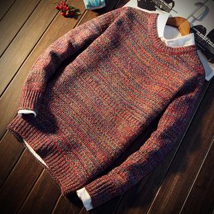 秋冬男士毛衣圆领韩版修身套头针织衫加厚休闲线衫潮学生男装外套
