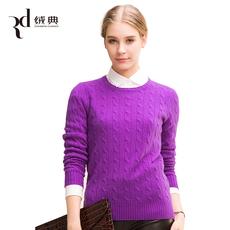 厂家女士圆领麻花羊绒衫秋冬季新款宽松纯羊绒套头毛衣针织衫厚