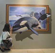 墙绘 手绘3D油画 超逼真3D背景墙 室内室外景区墙绘 商业墙绘