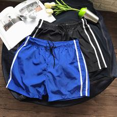 韩版夏季时尚简约条纹沙滩短裤青年男士休闲运动裤子潮流五分裤薄