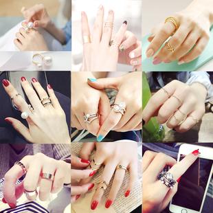 纯姿韩版夏季新品戒指气质百搭女士指环 时尚珍珠多件套水钻饰品