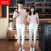 时尚情侣装夏装新款短袖T恤七分裤男女运动套装韩版初中学生班服