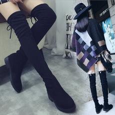 春秋新款性感显瘦过膝长靴平底中跟百搭黑色弹力布超长高筒女靴子