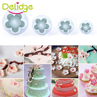 3-4 Pcs/Set Plum Flower Cookie Mold Flower Fondant Cake Deco