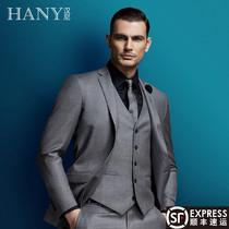羊毛灰色西装 HANY汉尼男装 商务正装 男西服修身 西服套装 正装 外套