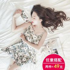 韩版学生睡衣女夏季短袖甜美可爱吊带睡裙中裙宽松冰丝清新家居服