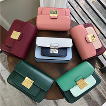 MK lady bag leather small square lady leather double shoulder strap single shoulder oblique lady bag 2019 new color matching bag