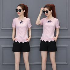 短袖t恤女装2017夏季新款韩版雪纺衫修身显瘦纯色圆领打底衫上衣