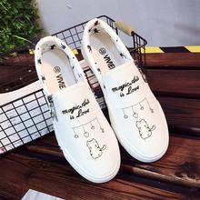 鞋子女2018新款夏季麻叶鞋子女原宿学生手绘平底凡布涂鸦小白鞋