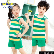 Children's vest suit Boys'Summer Cotton Boys' and Girls'Sports Sleeveless Boys' Shorts Two-piece Cotton Suit