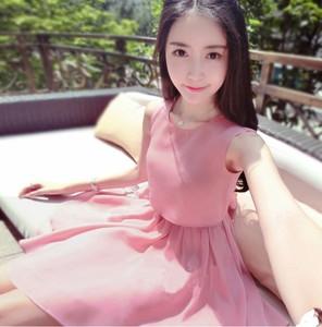 清纯纱裙连衣裙夏甜美仙女气质裙子粉色名媛无袖礼服新款女神女装